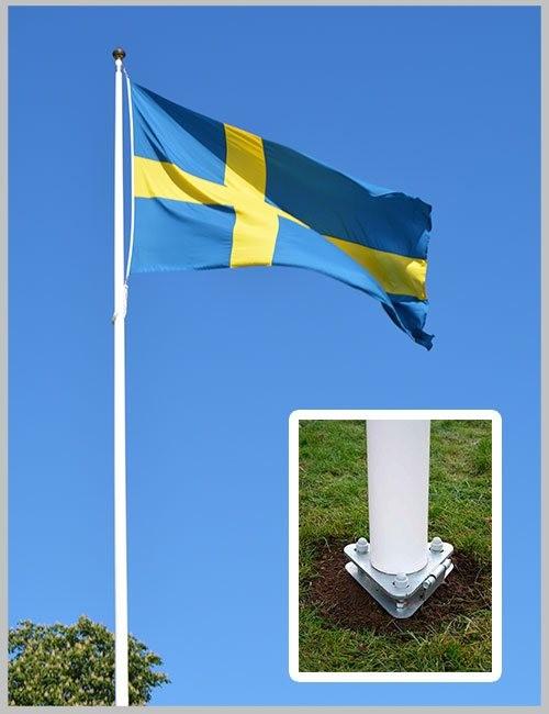 Flaggstång original med fällbart markfäste montering