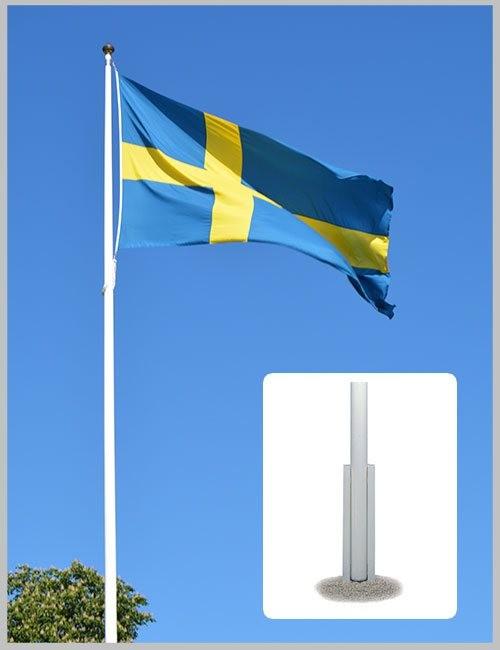 Flaggstång original med U-balk montering