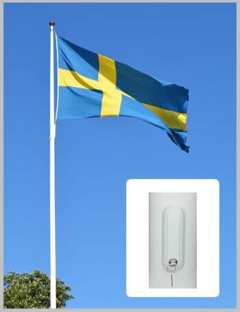 Flaggstång med invändigt linsystem og linlås