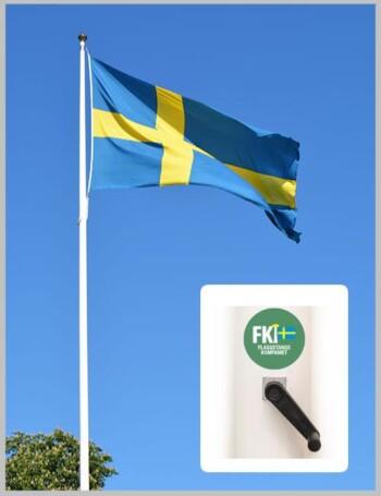 Flaggstång med invändigt linsystem og vev